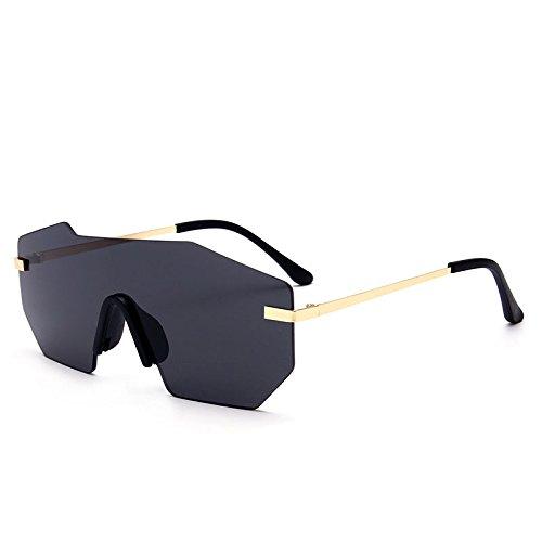 Sunglasses gafas sol Lentes black de TL metálico UV400 with grande herraje de hombre pieza sola sin gold una Silver gafas Unisex BdCwq