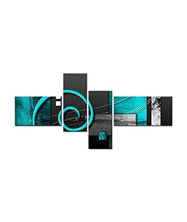 HEXOA Tableau multi panneaux abstrait Volute 130x65 cm turquoise ...