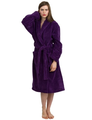 - TowelSelections Super Plush Bathrobe - Luxury Spa Robe for Women and Men, Soft and Warm, Made in Turkey, Purple, Small/Medium