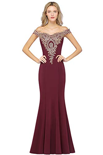 MisShow Formal Bridesmaid Wedding Party Long Dresses with Gold Lace Applique Burgundy 12
