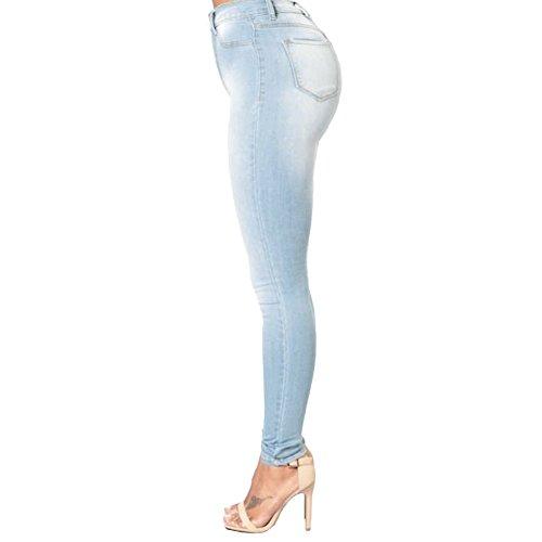 Classique Clair Collant Romacci Bleu Sexy Haute Denim Femme Mince Jeans Legging Taille Slim Pantalons fwSqpw