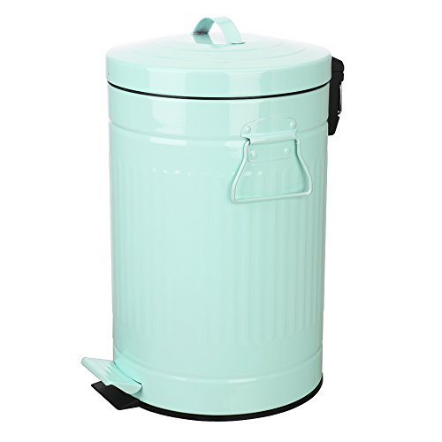 Retro Bin (Kitchen Trash Can with Lid, Mint Green Bathroom Garbage Can, Round Waste Bin Soft Close, Retro Vintage Metal Garbage Can For Office, 12 Liter/3 Gallon, Glossy Mint Green/Light Teal)