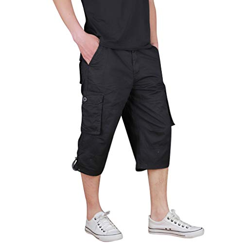 (LUCAMORE Men's Casual Cargo Shorts Below Knee Loose Fit Multi-Pocket Capri Long Shorts Black)