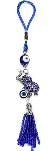 Bravo Team Lucky Elephant and Evil Eye Good Luck Hanging Ornament for Protection, Blessing, and Strength with Rhinestone Crystals, Pendant Decoration for Car, Home and Office Great Gift ()