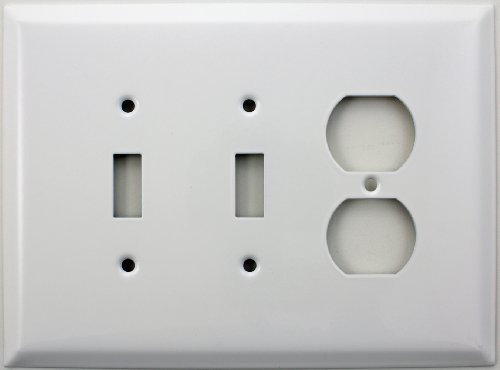 Over Sized Jumbo Smooth White Three Gang Switch Plate - Two Toggle Light Switch Openings One Duplex Outlet Opening