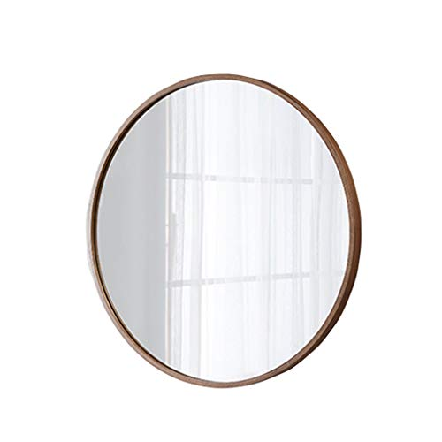 Wall Mirrors Simple Design Round Plain Wall Mirror, Modern Wood Framed Mirror, Hanging Decorative Vanity Mirror for Bedroom, Bathroom & Living Room, Black Walnut,Rose Black Vanity Bathroom