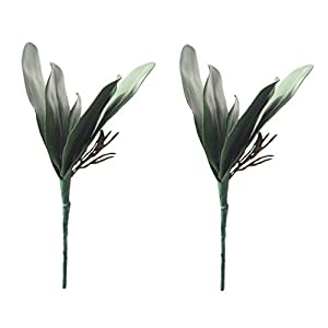 UUPP 4 pcs Artificial Shrubs Plants Fake Ferns Artificial Butterfly Orchid Leaves Bush Flowers for Indoor Outside Home Garden Office Decor, 10.8'' 2