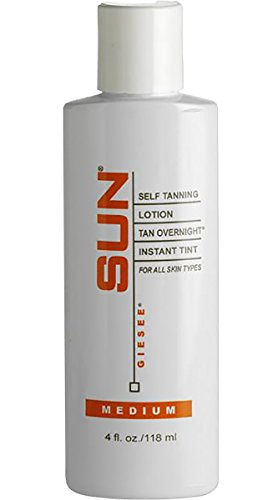 Sun Laboratories Tan Overnight Self Tanning Lotion 4 fl oz.Self Tanner - Natural Sunless Tanning Lotion, Body and Face for Bronzing and Golden Tan - Medium Sunless Bronzer Flawless Fake Tanning (Bronzer Best Body)