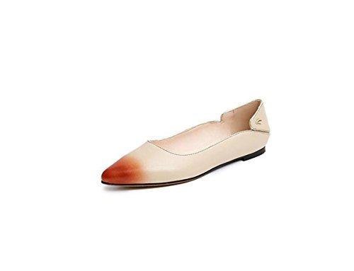 AJUNR Moda/elegante/Transpirable/Sandalias Zapatos de mujer Solo los zapatos Sharp cabeza Remache Albaricoque Poca boca Fondo plano Zapatos de tacon bajo Treinta y nueve 38