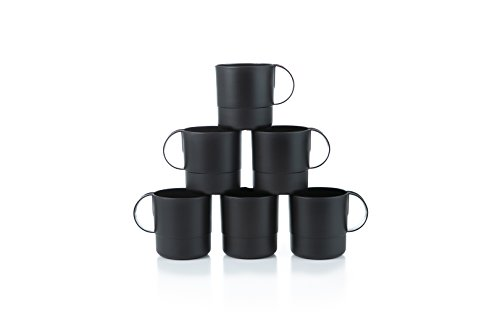 Amuse- Eco Friendly Sturdy Unbreakable & Stackable Mugs for Water, Coffee, Milk, Juice, Tea- Set of 6-11 oz (Black)  ()