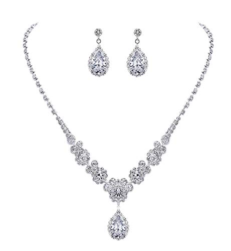 YSOUL Wedding Party Crystal Jewelry Set Necklace Earrings Bridal Bridesmaid ()
