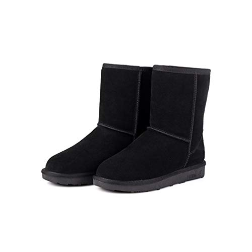 Plunger Women Fashion Solid Color Keep Warm Flat Heel Short Snow Boots Black ()