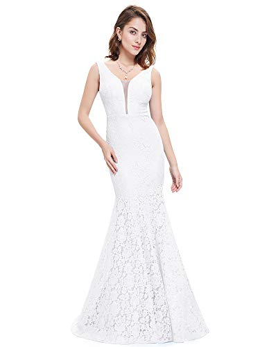 Ever-Pretty Womens Floor Length Sleeveless Double V-Neck Lace Mermaid Style Prom Dress 12 US White