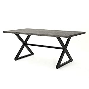 Christopher Knight Home Rolando Outdoor Aluminum Dining Table with Steel Frame, Grey / Black