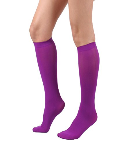 Women's Semi Opaque Knee High Trouser Sock 3pair / 6pair (One Size : XS to M, 3pair-Purple)