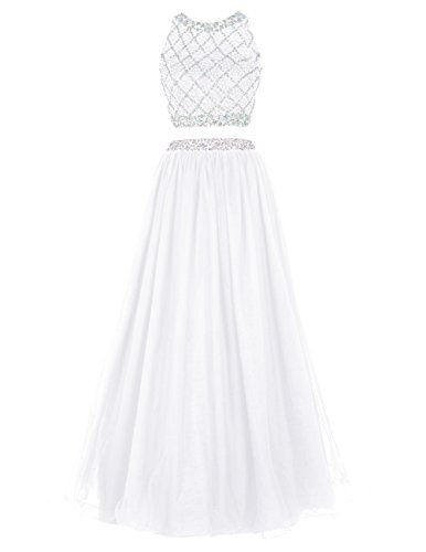 Corset Prom Dresses 2016 - DRESSTELLS Long Prom Dress 2016 Two Pieces Tulle Evening Gowns with Beads Ivory Size 4