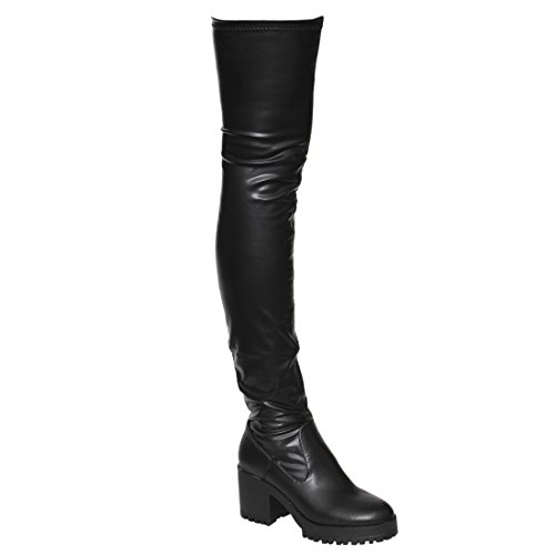 Beston EJ05 Women's Stretchy Snug Fit Platform Thigh High Chunky Heel Boots, Color Black PU, Size:8.5 Black Leather Thigh High Boots