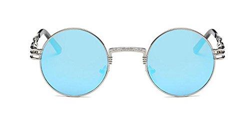 lunettes retro en style Réfléchissant polarisées cercle du rond métallique de inspirées Bleu soleil vintage Lennon 6gwqzYgrZF