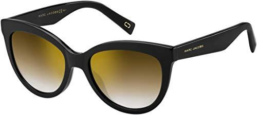 Marc Jacobs Women's Round Slight Cat Eye Sunglasses, Black/Brown, One ()