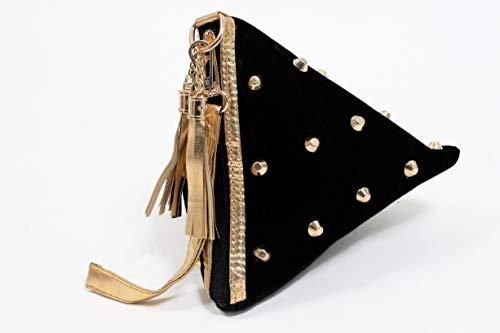 - Bangle Potli Bag/Wristlet/Wedding Hand Bag with Brocade Beads - Black