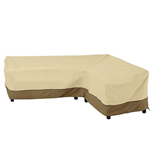 Jcy Outdoor Furniture Cover, Rainproof, Sun Protection Garden Furniture L-Shaped Corner Sofa Waterproof Cover 210D Long Sofa Cover (Color : Right armrest Beige, Size : 83x104x32x31)