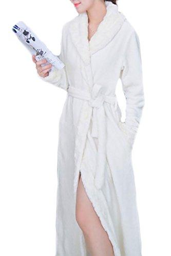 Women One Size Fashion Sexy Spandex Satin Lace Bath Robe White- - 5