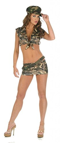 [Nom de Plume, Inc Women's Sexy Stretch Lycra Army Top & Skirt Costume Set With Cap Medium Camo] (Sexy Army Costumes For Women)