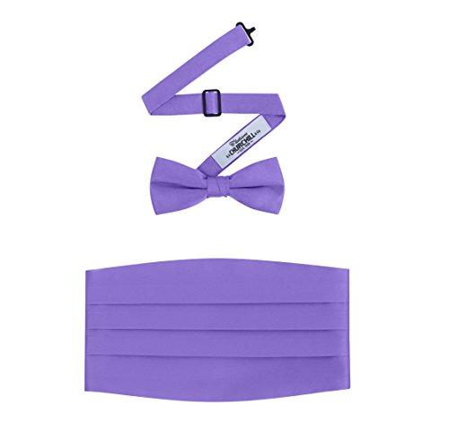 Purple Mens Cummerbund - Men's Formal Satin Bowtie and Cummerbund Set - Purple, By S. H. Churchill