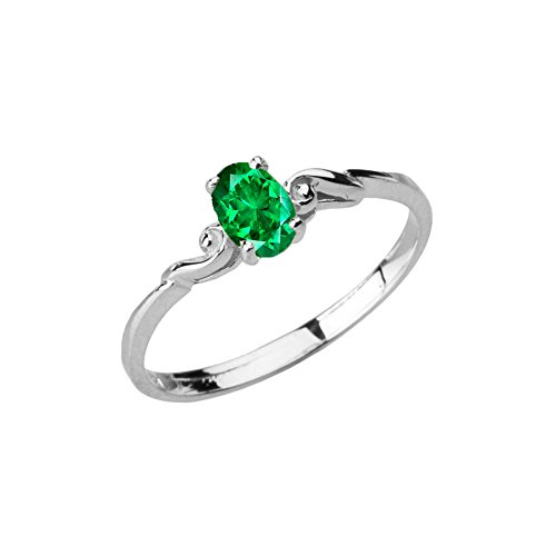 Dainty 10k White Gold Genuine Emerald Swirled Engagement/Promise Solitaire Ring (Size 5) - Gold Genuine Emerald Ring