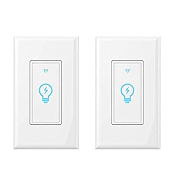 Smart Light Switch, Compatible With Amazon Alexa, Google Home and IFTTT, Remote Control Your Fixtures From Anywhere, Timing Function, Overload Protection, No Hub Required