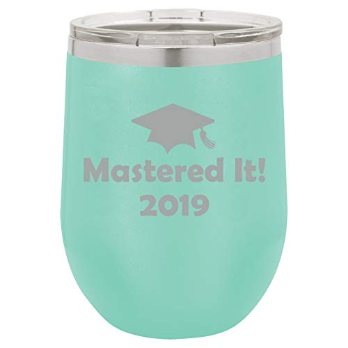 12 oz Double Wall Vacuum Insulated Stainless Steel Stemless Wine Tumbler Glass Coffee Travel Mug With Lid Mastered It 2019 Graduation Master's Degree (Teal) -