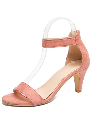 Festnight Women's Stiletto Open Toe Low Heel Zipper Closure Sandal Ankle Strap High Heels Sandals Working Bridal Party Shoes Pink