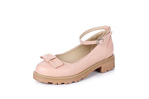 BalaMasa Womens Metal Buckles Chunky Heels Platform Urethane Pumps Shoes Pink