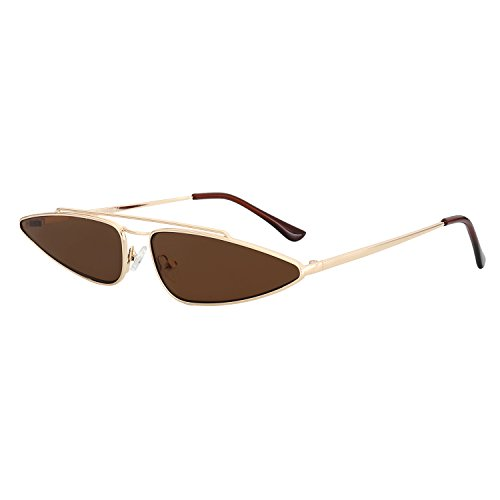 ROYAL GIRL Sexy Cat Eye Sunglasses For Women Fashion Designer Small Frame Retro Vintage Shades Brown - Small Glasses Frame