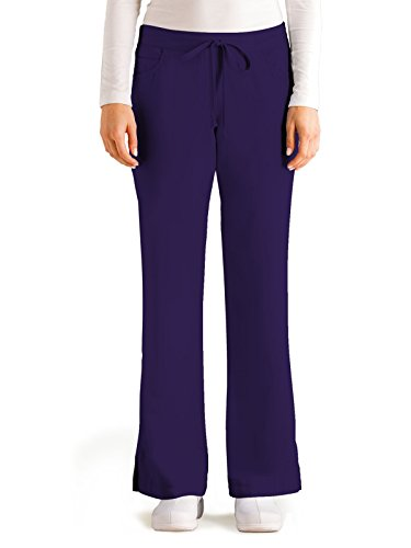 Grey's Anatomy Women's Junior-Fit Five-Pocket Drawstring Scrub Pant - XX-Small Petite - Purple - Purple Bottoms Scrubs
