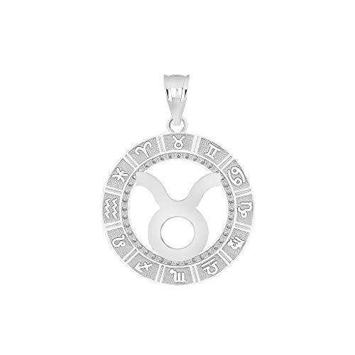 - 10K Taurus White Gold Zodiac Sign Constellation Horoscope Symbol Pendant