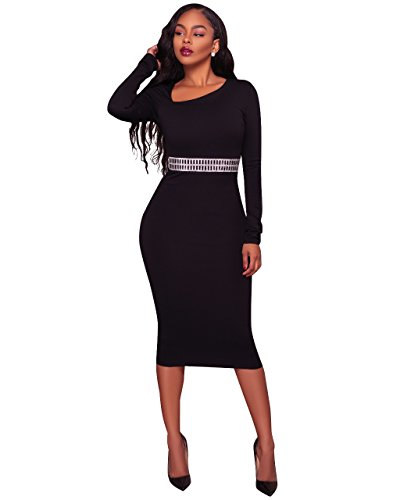Felicity Young Women's Long Sleeve Asymmetric Neck Rhinestone Embellished Cocktail Bodycon Pencil Party Midi Dress Black, (Neck Rhinestone)