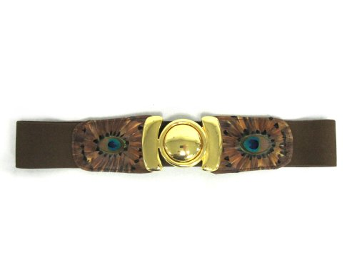 Women's Genuine Peacock Feather Embossed Elastic Stretch Belt with Gold Clasp