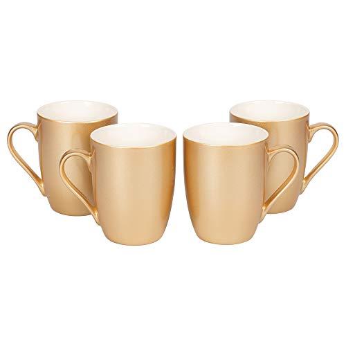 Vegas Gold Tone Metallic Finish 10 Oz. New Bone China Coffee Cup Mug Set of 4