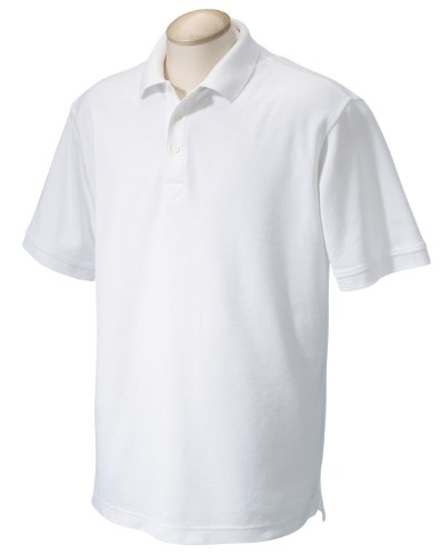 (Chestnut Hill CH100 Mens Performance Plus Pique Polo - White - 5XL)