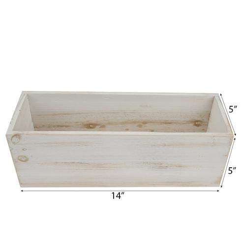 BalsaCircle 14x5-Inch Natural Whitewashed Wood Rustic Rectangular Planter Boxes Holders Centerpieces Wedding Decorations Party - Box Planter Wooden Make