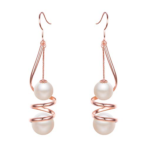 Spiral Spiral Earrings Pearl - EleQueen Women's Ivory Color Simulated Pearl Long Wire Swirl Spiral Hook Drop Earrings For Wedding or Prom Rose-Gold-Tone
