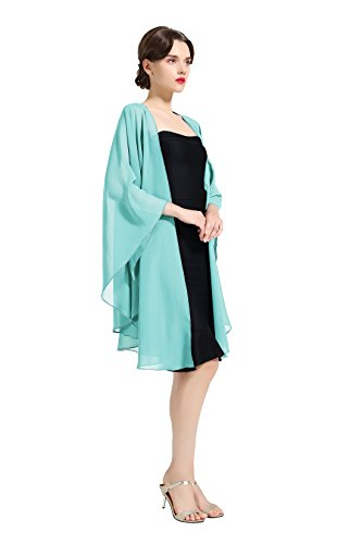 Shawl Wrap Chiffon Scarf For Women Evening Dresses Wedding Stole Aqua Blue by - Aqua Coral