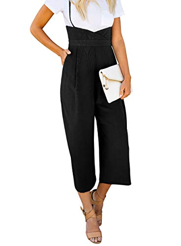 BELONGSCI Women 2 Pieces Outfits Suit Sweet & Cute T-Shirt Top + Strapless Gallus Wide Leg Jumpsuit Pocketed Ankle Overalls by BELONGSCI (Image #1)