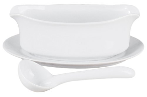 HIC 18-ounce Porcelain Gravy Boat with attached Saucer and Ladle Set by HIC Harold Import (Art Gravy Boat)
