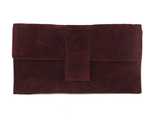 Loni Womens Elegant Faux Suede Clutch Bag/Shoulder Bag Occasion Wedding Party Prom Bag Burgundy Wine Red