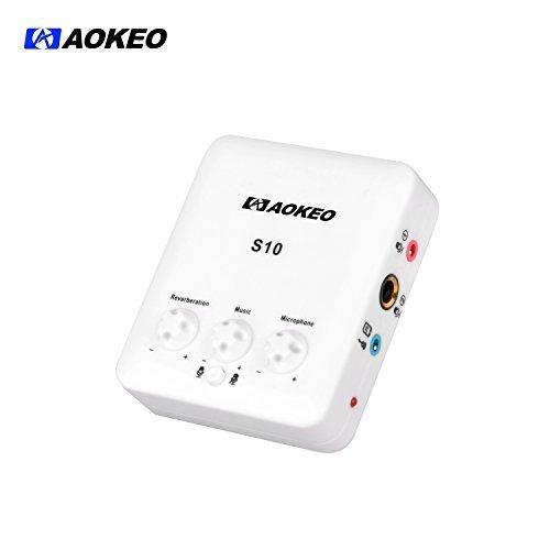 Aokeo S-10 External USB Sound Card with Free Drive Design for Singing, Recording, Music Listening ()
