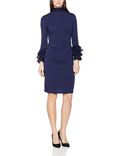 HotSquash High Neck Lace Detail Jersey Dress, Vestido para Mujer azul (marino)