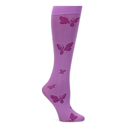 Price comparison product image Nurse Mates Women's Patterned 11 Mmhg Compression Knee-High Lightweight Trouser Socks Orchid