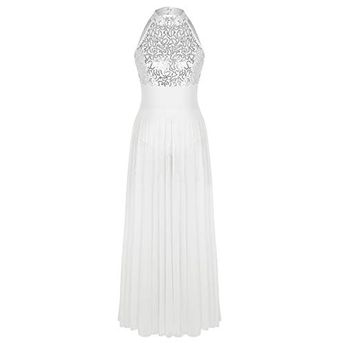 Agoky Women's Halter Sequins Lyrical Dance Costumes Dresses Split Maxi Tutu Skirted Leotard Evening Ball Gown Dress White Medium (Dance Waltz Dress)